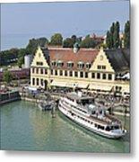 Ship In The Lindau Harbor Lake Constance Germany Metal Print