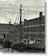 Ship Mooring Vintage Metal Print