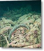 Ship Wreck And Motorbikes Metal Print