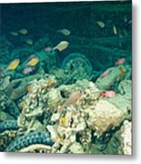 Ship Wreck With Motorbikes Metal Print