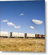 Shipping Containers On The Move By Train Metal Print by Colin and Linda McKie