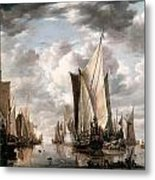 Shipping In A Calm At Flushing Wiht A States General Yacht Firing A Salute Metal Print by Jan van de Cappelle