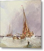 Shipping In The Solent 19th Century Metal Print