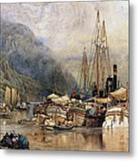 Shipping On The Hudson River Metal Print by Samuel Colman
