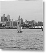 Ships And Boats In Black And White Metal Print