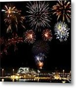 Ships And Fireworks Metal Print