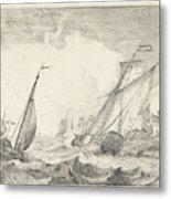 Ships At Sea, Ludolf Bakhuysen Metal Print