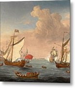 Ships In The Thames Estuary Near Sheerness Metal Print
