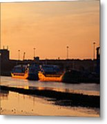 Ships Moored At The New Docking Metal Print