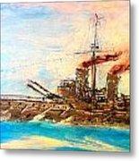 Ship's Portrait - Hms Dreadnought 1908 Metal Print