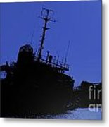 Shipwreck Of A Beached Diesel Tanker At Night Metal Print