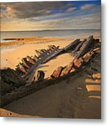Shipwreck On Cape Cod Beach Metal Print by Dapixara Art
