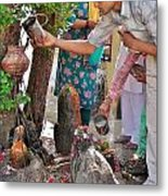 Morning Offerings At A Shiva Temple - India Metal Print