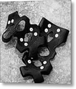 Shoe Spiked Grips On Melting Ice And Snow On Street Surface Metal Print by Joe Fox