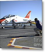 Shooter Signals To The Pilot Of A T-45c Metal Print