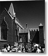 shoppers in market outside St Nicholas collegiate church Galway city county Galway Republic of Irela Metal Print