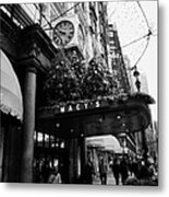 shoppers walk past entrance to Macys department store on Broadway and 34th street at Herald square Metal Print by Joe Fox
