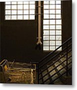 Shopping Cart Stairs At Window Metal Print