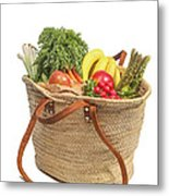 Shopping For Orrganic Fruit And Vegetables  Metal Print