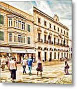 Shopping In Menorca Metal Print