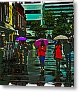 Shopping In The Rain - Knoxville Metal Print