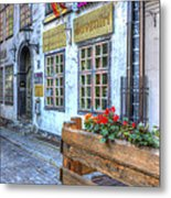 Shops And Flower Boxes Metal Print