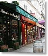 Shops On Rue Cler Metal Print