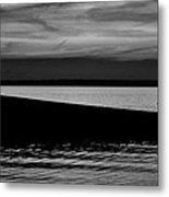 Shore Boat Bw Metal Print