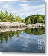 Shoreline Reflection Of Northern Lake Metal Print