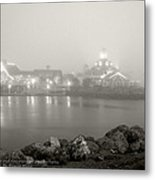 Shoreline Village In The Fog Metal Print