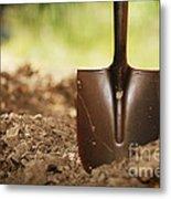 Shovel In Soil Metal Print