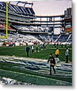Shoveling Before The Game Metal Print