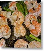 Shrimp And Asparagus Metal Print
