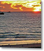 Shrimp Boats And Gulls Over Sea Of Cortez At Sunset From Playa Bonita Beach-mexico Metal Print