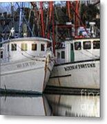 Shrimp Boats Reflecting Metal Print