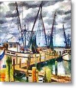 Shrimp Boats Metal Print