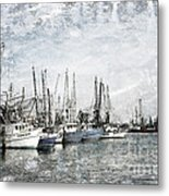 Shrimp Boats Sketch Photo Metal Print