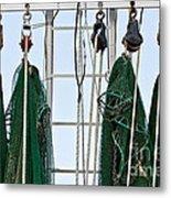 Shrimp Nets Metal Print