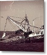 Shrimping In The Harbor Metal Print