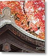 Shrine Roof And Autumn Leaves Arashiyama Kyoto Metal Print by Colin and Linda McKie