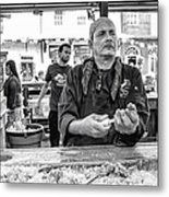 Shucking Oysters In Black And White Metal Print