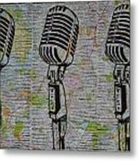 Shure 55s On Map Metal Print by William Cauthern