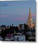 Shwedagon Pagoda In Yangon Myanmar Metal Print