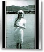 Shy Girl With New Easter Dress Metal Print