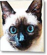 Siamese Cat Art - Black And Tan Metal Print by Sharon Cummings