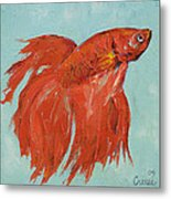 Siamese Fighting Fish Metal Print by Michael Creese