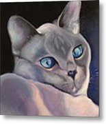 Siamese In Blue Metal Print