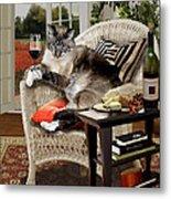 Funny Pet A Wine Bibbing Kitty  Metal Print
