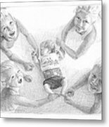Siblings With New Baby Pencil Portrait Metal Print