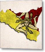 Sicily Map Art With Flag Design Metal Print